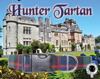 Hunter Tartan Dog Collar,,, Authentic tartan from the Scottish Clan Hunter