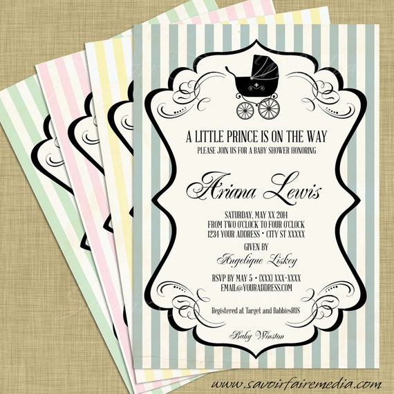 Vintage stroller baby boy shower invitation and thank you card il570xn filmwisefo