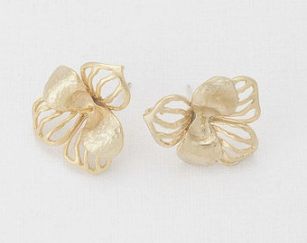 Flower Post Earring(Pin) Matte Gold- Plated - 2 Pieces [E0052-MG]