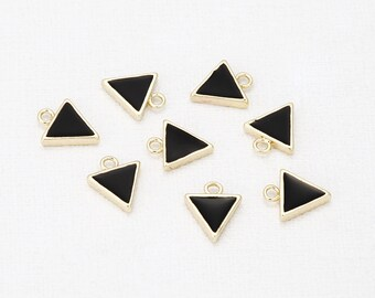 Triangle Jet Epoxy Pendant Polished Gold-Plated - 2Pieces [P0341-PGJT]