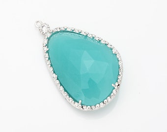 Mint Glass Pendant, Crystal Czech Stone.  Polished Rhodium -Plated - 2 Pieces [G0030-PRMT]