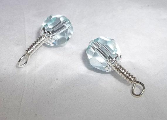 Swarovski 8mm Light Azore Sterling Silver Handmade Charms