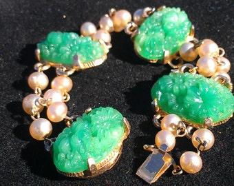 Peking glass and pearl bead bracelet