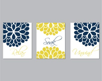 Navy mustard yellow etsy for Bathroom decor blue and yellow