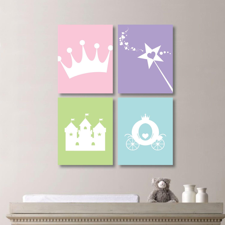 Baby girl nursery art print princess bedroom art princess for Girls wall art