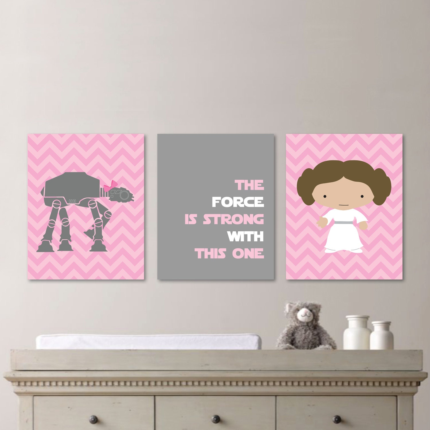 Baby Girl Nursery Print Art Chevron Art Star Wars Nursery