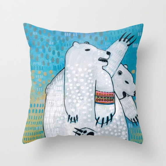 Polar Bear Throw Pillow : Polar Bear Kid s Room Decor Throw Pillow Polar Bear Art