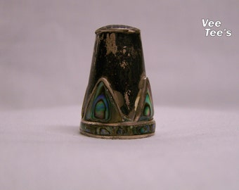 Silver and Abalone Thimble Needle Work Sewing Thimble