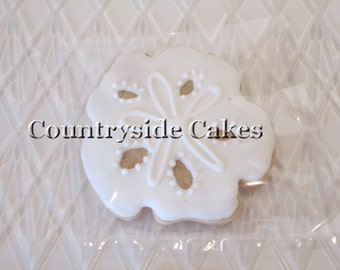 Sand Dollar Decorated Sugar Cookies  -1 dozen
