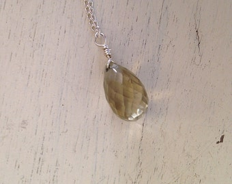 Gold Faceted  Bead on Silver Chain