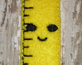 Set of 4 Back To School Happy Smiling Ruler Feltie Felt Embellishment Bow! Felties Applique Party