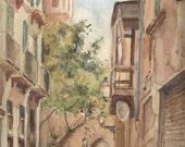 "Palma de Majorca, ORIGINAL watercolor painting, architectural drawing. 12"" x 9"". View of old mediterranean street, art by Catalina"