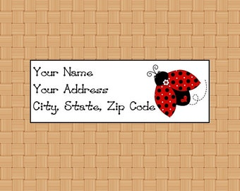 Address Labels Personalized Labels Return Labels Ladybug Heart Labels Insect Labels Red Ladybug Labels