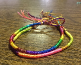 set of 2 shiny rainbow and neon wrapped friendship bracelets or anklets