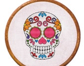 Counted cross stitch pattern, Instant Download, Free shipping, Cross-Stitch PDF, Sugar skull (variant 3)