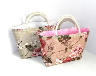 Toddler purse, Little girls bag, Floral toddler bag, Linen handbag, Pink floral purse, Gift for little girl