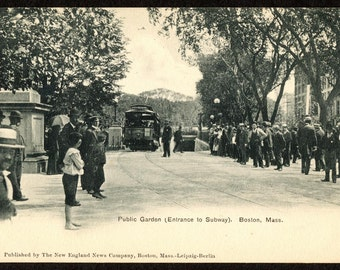 1900 Postcard Waiting for the Trolley in The Public Garden of Boston