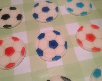 Sports Themed Soccer Cupcake Toppers, Fondant Topper, Cupcake Topper, Birthday Party Cupcakes, Fondant, Cupcake Supply, Sport Cupcake