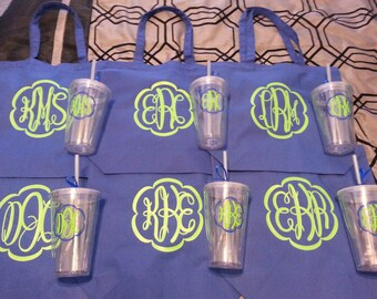 Monogrammed Bridesmaids Gifts - Set of 9 Tote Bags and 9 Tumblers