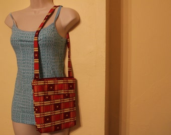 Red and yellow checkered flower hipster purse