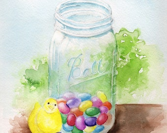 Easter Goodies. A colorful Ball jar filled with Easter yummies. Peeps chick and traditional jelly beans.