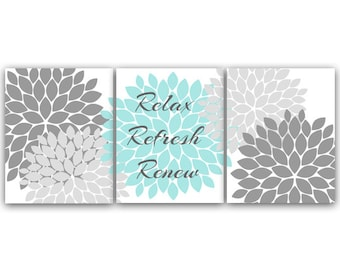 Teal grey bathroom decor bathroom wall art by for Teal and gray bathroom accessories