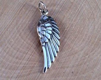 Angel Wing Charm, Angel Wing Pendant, Sterling Silver Angel Wing, Bird Wing Charm, Solid Wing Charm, PS0173