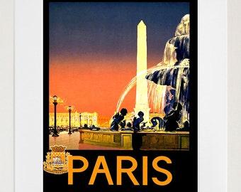Art Paris Travel Poster France Print Vintage (ZT224)