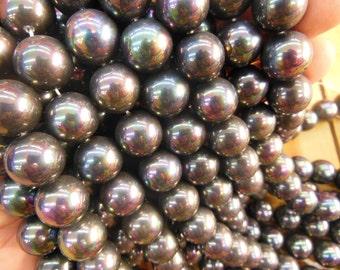 "16mm hematite sea shell pearl beads, 16"" strand long"