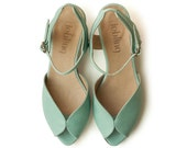 New! Mint Adelle Sandals,  Handmade Leather shoes, green Shoes, Women heels sandals free shiping
