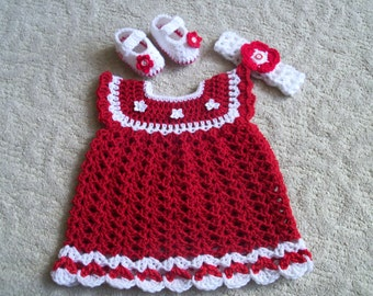 New Handmade Crochet Baby Girl Dress, Headband and booties, Baby shoes (0-3 month)
