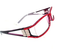 Swarovski Crystal Reading Glasses with open sides - Light Siam Stones