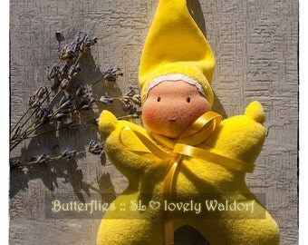 Waldorf doll: Butterfly (yellow)