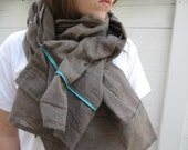 Hand made one of a kind brown scarf with sky blue trim. - SaffronMoonArt