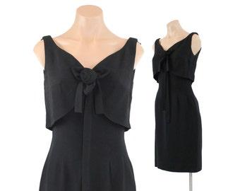 Vintage 60s Dress LBD Rosette Bow Sleeveless Dress Black Wiggle Dress Empire Dress Floral DRess Alix of Miami Vintage 1960s Medium M