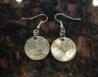 Singapore 5 cents coin earrings.