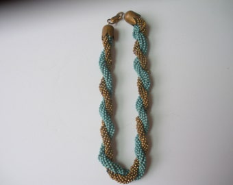 Turquoise and Bronze Colored Beaded Necklace~Marked Coro