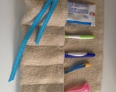Washable Travel Toothbrush Holder with Ribbon Tie, Beige and Blue Ribbon
