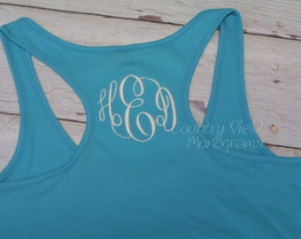 Monogrammed Racer Back Tank Top for Women--Womens fitted Monogrammed Tank Top Summer Work Out