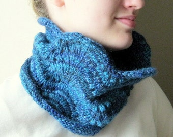 Womens one of a kind feather and fan cowl neckwarmer hand knit from handpun wool - scarf - neck warmer- gift for coworker