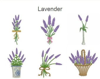 Lavender Flowers Machine Embroidery Designs Instant Download 4x4 hoop 10 designs APE1551