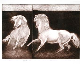 Equilibrium II, horses in balance a handmade mezzotint