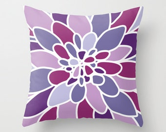 Purple Violet Dahlia Flower Pillow Cover // Modern Home Decor // includes insert