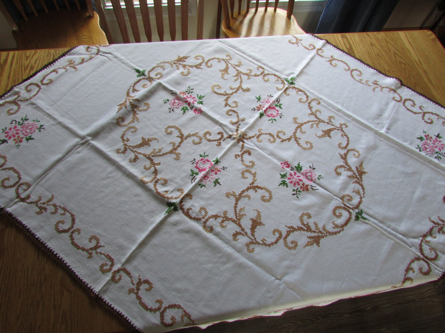 Vintage embroidered tablecloth flower