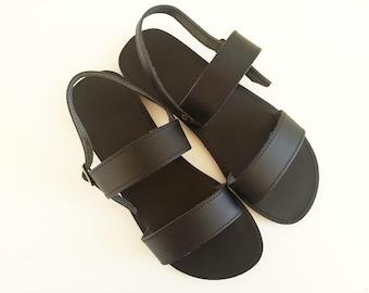 Women Open Toe Leather Sandals - Black Leather Summer Sandals