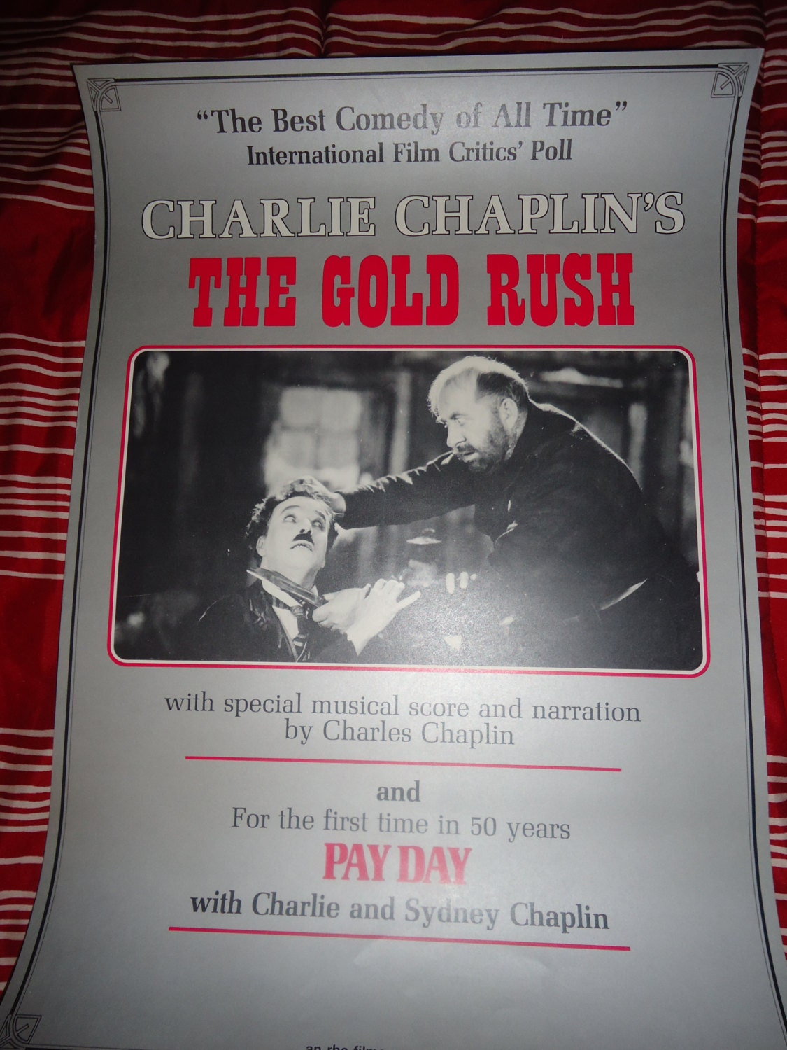 Original 1973 The Gold Rush Charlie Chaplin Movie Poster
