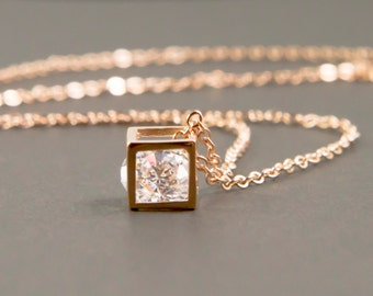 Rose gold necklace, gold geometric necklace, square necklace, square cube necklace, dainty geometric necklace, tiny square