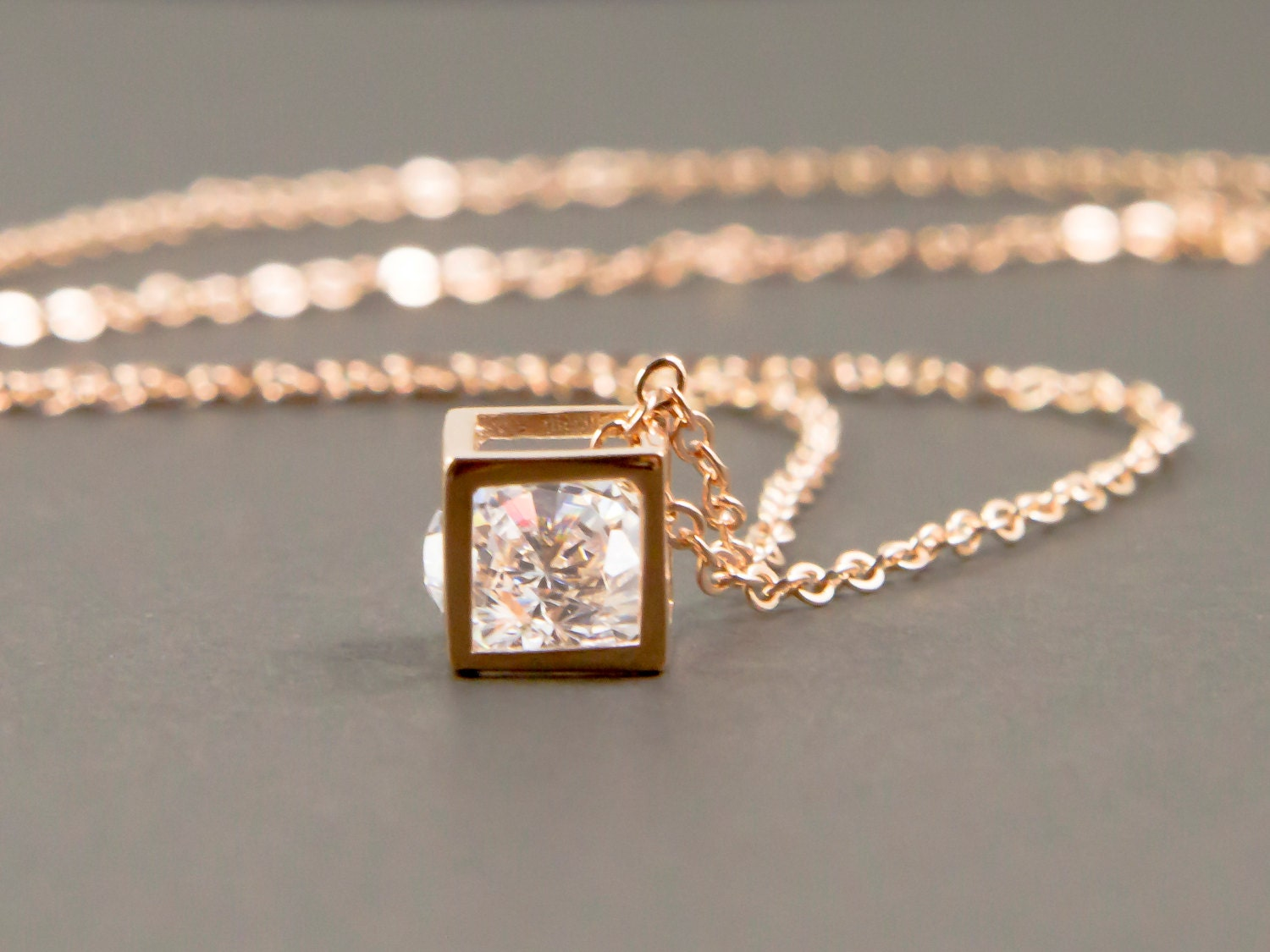 Rose Gold Necklace Gold Geometric Necklace Square Necklace