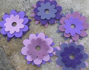 15 Wool Blend Felt Die Cut Applique Flowers - Sugar Plum