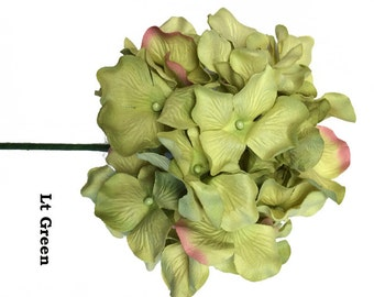 5 Stems of  Handmade Paper/Parchment Hydrangea-Lt Green - 5 stems per order